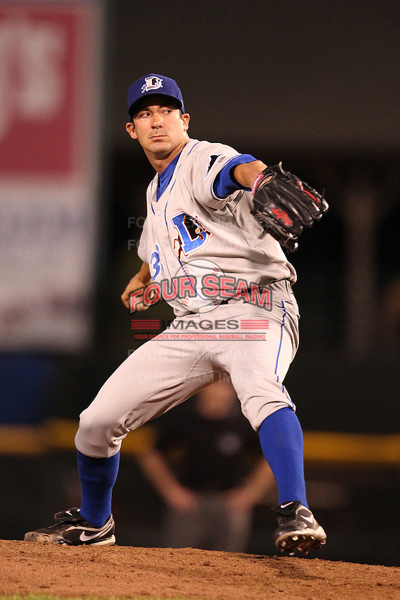 Durham Bulls relief pitcher Lance Cormier #29 during a game against the Rochester Red Wings at Frontier Field on July 18, 2011 in Rochester, New York.  Durham defeated Rochester 4-1.  (Mike Janes/Four Seam Images)