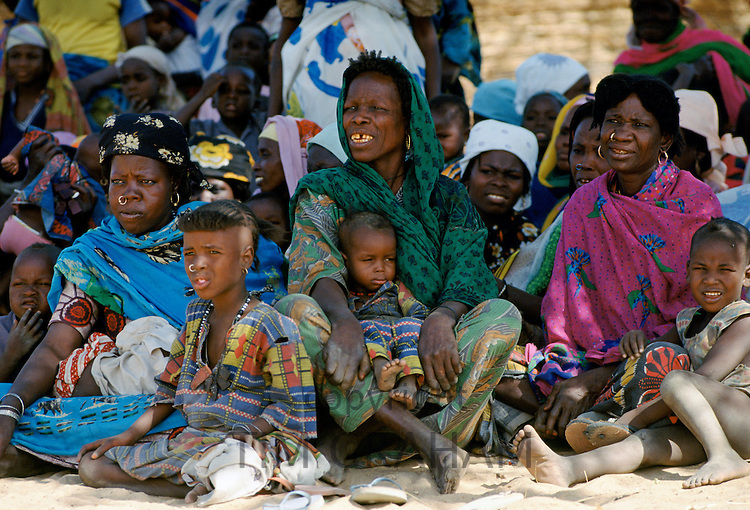 Nigerian families attending a tribal gathering cultural festival at Maiduguri in Nigeria, West Africa
