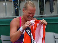 Paris, France, 28 June, 2016, Tennis, Roland Garros, Kiki Bertens (NED) defeated Daria Kasatkina (RUS) and celebrates emotionaly<br /> Photo: Henk Koster/tennisimages.com