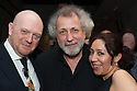 London, UK. 15.04.2014. Eifman Ballet after-party on press night for the opening of Rodin, Sky Bar, London Coliseum. Pictured: Graham Watts (dance critic), Boris Eifman (middle and Fabiana  Jaramillo. Photograph © Jane Hobson.