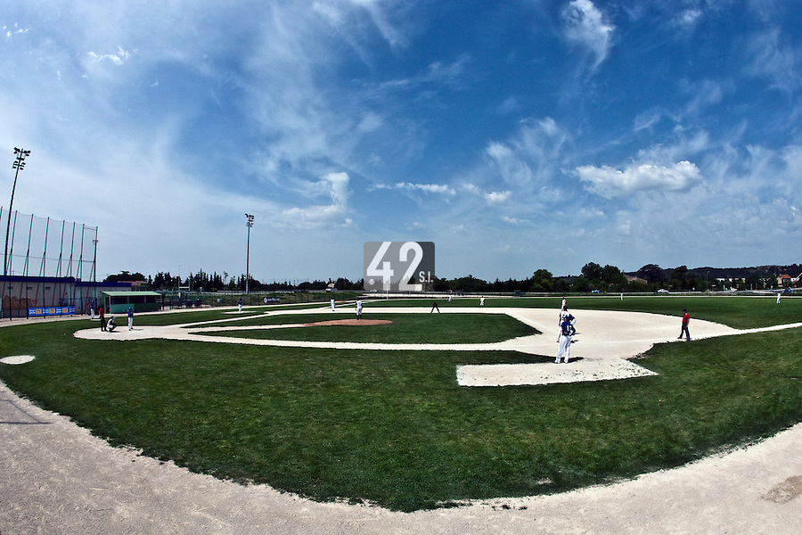 22 May 2009: A general view of Beaucaire Park during the 2009 challenge de France, a tournament with the best French baseball teams - all eight elite league clubs - to determine a spot in the European Cup next year, at Montpellier, France. Senart wins 7-1 over Montpellier.