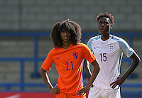 Tahiti Chong (Manchester United) of Holland & Trevoh Chalobah (Chelsea) of England U19 during the International match between England U19 and Netherlands U19 at New Bucks Head, Telford, England on 1 September 2016. Photo by Andy Rowland.