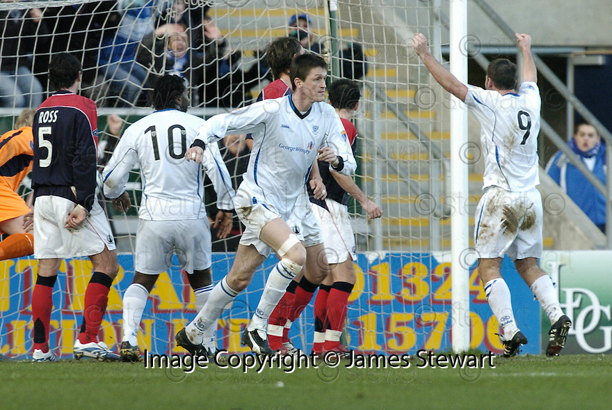 03/02/2007       Copyright Pic: James Stewart.File Name : sct_jspa02_falkirk_v_st_johnstone.KEVIN JAMES CELEBRATES AFTER HE SCORES ST JOHNSTONE'S SECOND.....James Stewart Photo Agency 19 Carronlea Drive, Falkirk. FK2 8DN      Vat Reg No. 607 6932 25.Office     : +44 (0)1324 570906     .Mobile   : +44 (0)7721 416997.Fax         : +44 (0)1324 570906.E-mail  :  jim@jspa.co.uk.If you require further information then contact Jim Stewart on any of the numbers above.........