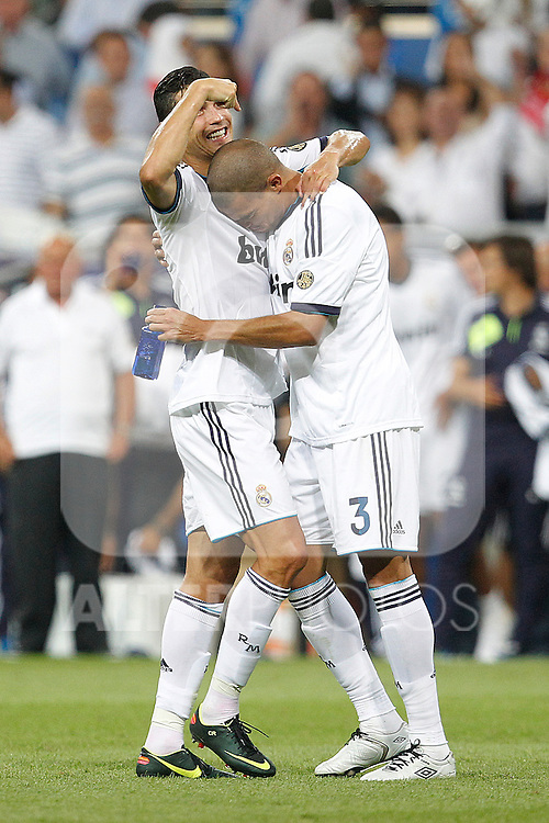 Real Madrid's Cristiano Ronaldo and Pepe during Spanish Supercup 2nd match on august 29 2012...Photo: Cebola / Cid-Fuentes / ALFAQUI