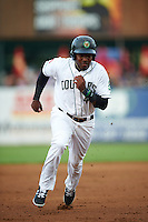 Kane County Cougars third baseman Henry Castillo (4) running the bases during a game against the Great Lakes Loons on August 13, 2015 at Fifth Third Bank Ballpark in Geneva, Illinois.  Great Lakes defeated Kane County 7-3.  (Mike Janes/Four Seam Images)
