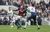 West Ham United's Michail Antonio and Tottenham Hotspur's Davinson Sanchez<br /> <br /> Photographer Rob Newell/CameraSport<br /> <br /> The Premier League - Tottenham Hotspur v West Ham United - Saturday 27th April 2019 - White Hart Lane - London<br /> <br /> World Copyright © 2019 CameraSport. All rights reserved. 43 Linden Ave. Countesthorpe. Leicester. England. LE8 5PG - Tel: +44 (0) 116 277 4147 - admin@camerasport.com - www.camerasport.com