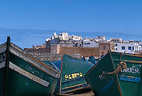 Fishing boats and distant city, Essouria, Morocco