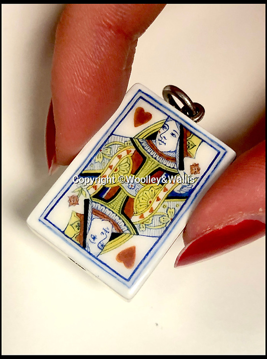 BNPS.co.uk (01202 558833)Pic:  Woolley&Wallis/BNPS<br /> <br /> A Victorian novelty silver and enamel pencil, modelled as a playing card, estimated at £700.<br /> <br /> A remarkable collection of vintage pencils has emerged for sale for £130,000.<br /> <br /> The collection, which boasts 454 lots, features elaborate gold and silver examples dating from the 19th and early 20th century.<br /> <br /> They depict famous landmarks, sporting equipment, animals, bottles of champagne and love tokens, with one even doubling as a fan.<br /> <br /> In a bygone age, women would take pencils with them on nights out so they could jot down the names of potential suitors on their dancing cards.