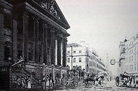 London:  Historical Drawing--The Mansion House with a view up Cheapside, 1783. St. Mary Le Bow just visible up Cheapside; projecting clock of St. Mildred Poultry.  Reference only.