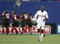 17 April 2004: DC United Freddy Adu disappoints after MetroStars John Wolyniec scored a goal in the second half of the game at Giants' Stadium in East Rutherford, New Jersey.  MetroStars defeated DC United, 3-2.