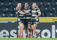 Picture by Allan McKenzie/SWpix.com - 19/04/2018 - Rugby League - Betfred Super League - Hull FC v Leeds Rhinos - KC Stadium, Kingston upon Hull, England - Hull FC's Bureta Faraimo is congratulated on his try against Leeds.