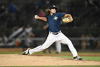 Relief pitcher Matt Blackham (6) of the Columbia Fireflies delivers a pitch in game two of a doubleheader against the Rome Braves on Saturday, August 19, 2017, at Spirit Communications Park in Columbia, South Carolina. Columbia won, 1-0. (Tom Priddy/Four Seam Images)