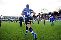 Kahn Fotuali'i and the rest of the Bath Rugby team run onto the field. Aviva Premiership match, between Bath Rugby and Harlequins on November 25, 2017 at the Recreation Ground in Bath, England. Photo by: Patrick Khachfe / Onside Images