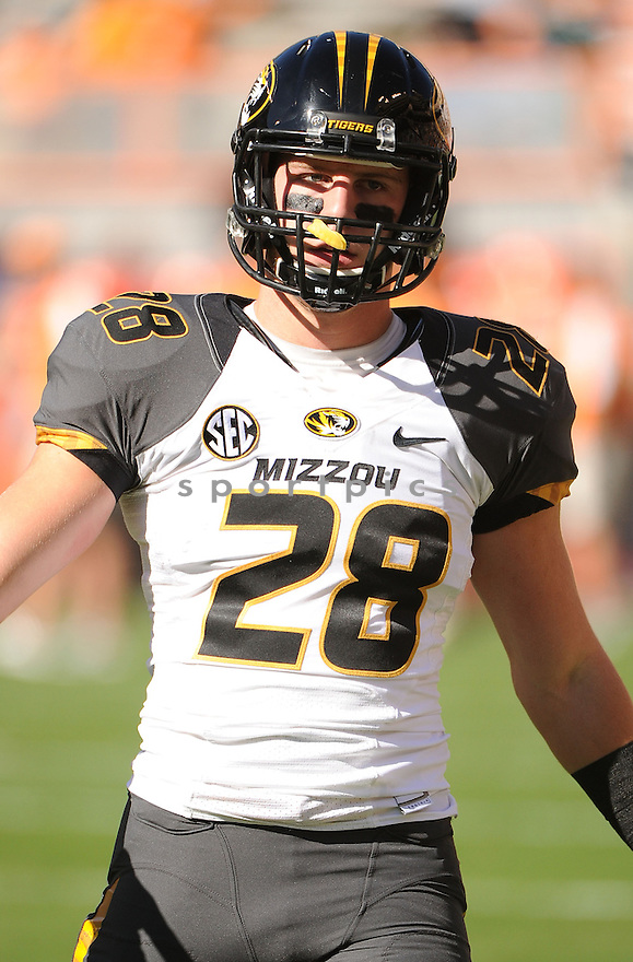 Missouri Tigers TJ Moe (28) in action during a game against Tennessee on November 10, 2012 at Neyland Stadium in Knoxville, TN. Missouri beat Tennessee 51-48.