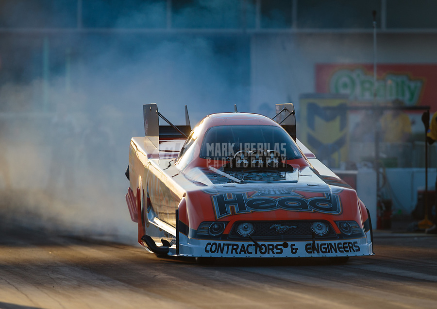 Mar 15, 2019; Gainesville, FL, USA; NHRA funny car driver Jonnie Lindberg during qualifying for the Gatornationals at Gainesville Raceway. Mandatory Credit: Mark J. Rebilas-USA TODAY Sports