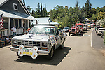 Boomer for Sheriff in his 1980s Dodge pickup. Downtown main street during the Independence Day celebration Main Street, Mokelumne Hill, California