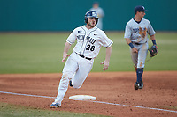 Willie Burger (28) of the Penn State Nittany Lions rounds third base against the Xavier Musketeers at Coleman Field at the USA Baseball National Training Center on February 25, 2017 in Cary, North Carolina. The Musketeers defeated the Nittany Lions 7-5 in game two of a double header. (Brian Westerholt/Four Seam Images)