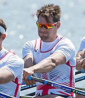 Brandenburg. GERMANY. GBR M4X. Bow. Graeme THOMAS.<br /> 2016 European Rowing Championships at the Regattastrecke Beetzsee<br /> <br /> Friday  06/05/2016<br /> <br /> [Mandatory Credit; Peter SPURRIER/Intersport-images]