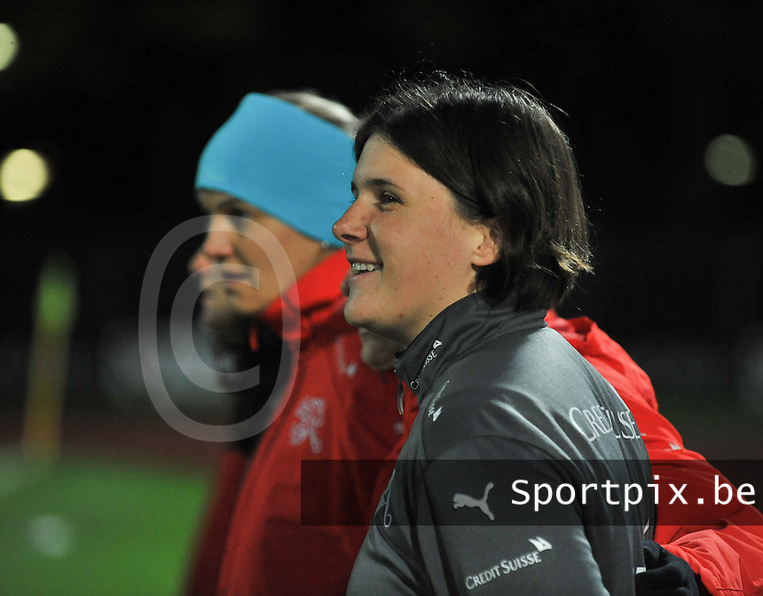 20131011 - SCHWEINFURT , GERMANY :  Swiss Coach Brigitte Steiner pictured during the female soccer match between Germany Women U17 and Switzerland U17 , in the first game of the Elite round in group6 in the UEFA European Women's Under 17 competition 2013 in the Willy Sachs Stadium - Schweinfurt. Friday 11 October 2013. PHOTO DAVID CATRY