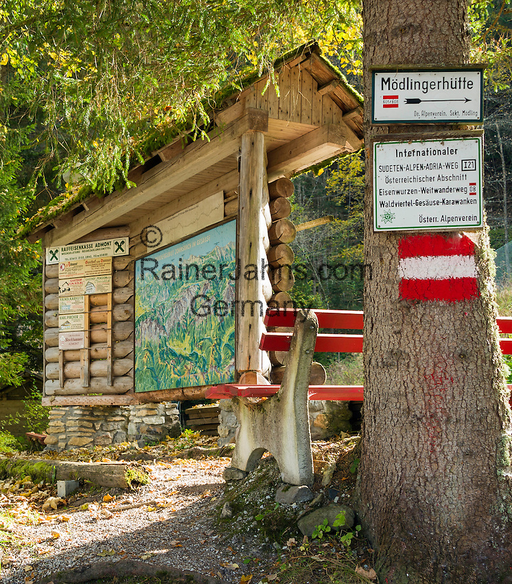 Austria, Styria, village Johnsbach at Johnsbach Valley: hiking trail signpost for Sudeten-Alps-Adria-trail | Oesterreich, Steiermark, Johnsbach im Johnsbachtal: Hinweisschild Internationaler Sudeten-Alpen-Adria-Weg