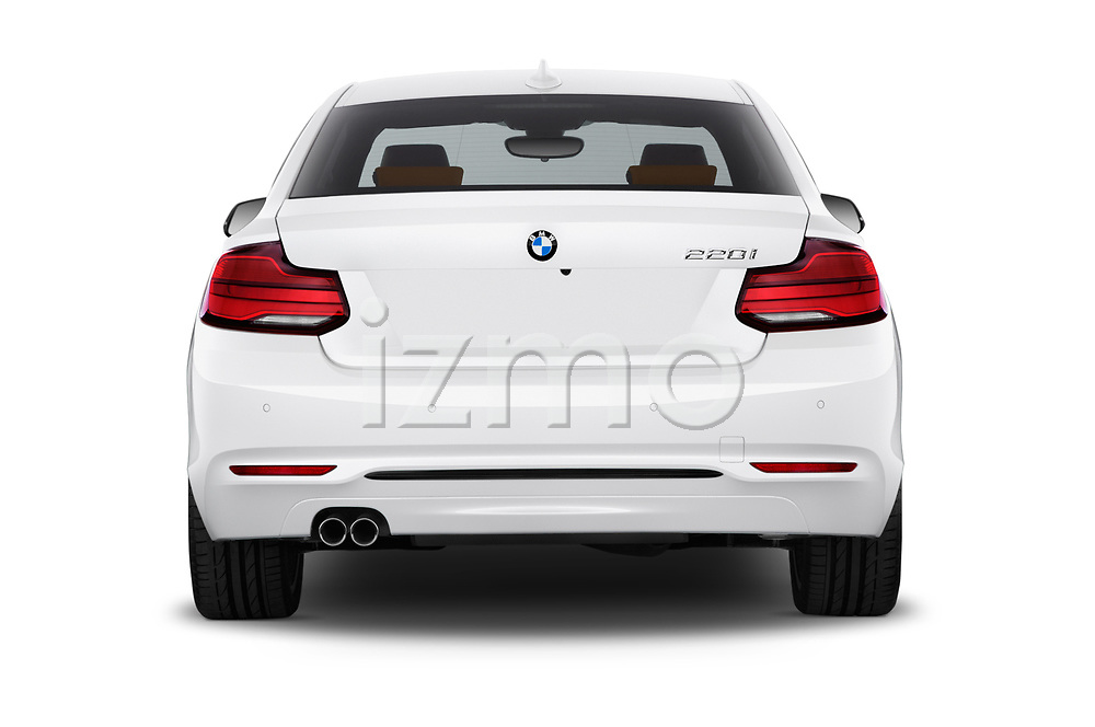 Straight rear view of a 2018 BMW 2 Series Sport 2 Door Coupe stock images