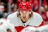 WASHINGTON, DC - JANUARY 31: Carl Hagelin #62 of the Washington Capitals  ready for a face off during a game between New York Islanders and Washington Capitals at Capital One Arena on January 31, 2020 in Washington, DC.