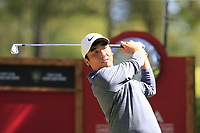 Doug Ghim (USA) tees off the 6th tee during Saturday's Round 3 of the 2018 Omega European Masters, held at the Golf Club Crans-Sur-Sierre, Crans Montana, Switzerland. 8th September 2018.<br /> Picture: Eoin Clarke | Golffile<br /> <br /> <br /> All photos usage must carry mandatory copyright credit (&copy; Golffile | Eoin Clarke)