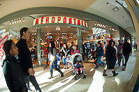 Shoppers outside an Aeropostale store at the Queens Center Mall in the borough of Queens in New York over the Black Friday weekend, on Saturday, November 26, 2011. Sales for Black Friday this year show a 6.6 percent increase from 2010 with retailers hoping that the increased numbers and foot traffic bodes well for the Christmas season. Many stores were open extra hours, some as early as 9PM on Thanksgiving, contributing to the extra foot traffic.  (© Frances M. Roberts)