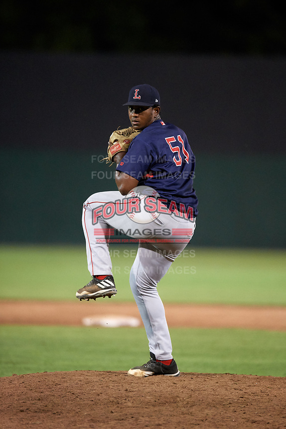 Lowell Spinners relief pitcher Victor Garcia (51) delivers a pitch during a game against the Auburn Doubledays on July 13, 2018 at Falcon Park in Auburn, New York.  Lowell defeated Auburn 8-5.  (Mike Janes/Four Seam Images)