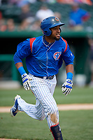 South Bend Cubs right fielder Chris Pieters (28) runs to first base during a game against the Kane County Cougars on May 3, 2017 at Four Winds Field in South Bend, Indiana.  South Bend defeated Kane County 6-2.  (Mike Janes/Four Seam Images)