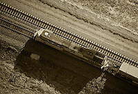 aerial photograph diesel Union Pacific locomotive southern Wyoming