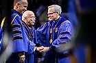 May 19, 2019; Laetare Medal recipient Norman Francis is greeted by Notre Dame President Rev. John I. Jenkins, C.S.C. after giving his address at the 2019 Notre Dame Commencement ceremony. (Photo by Matt Cashore/University of Notre Dame)