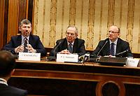 Igor Scalfarotto, Pier Carlo Padoan, ministro delle Finanze Vincenzo Boccia, presidente Confindustria, , durante la conferenza stampa  a margine di Italy is Now and Next