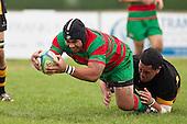 Sosefo Kata dives over in the tackle of Tamapi Akanoa,  to score the first of his two tries. Counties Manukau Premier Club Rugby game between Waiuku and Bombay, played at Waiuku on Saturday July 5th 2010. Waiuku won 59 - 14 after trailing 12 - 14 at halftme.