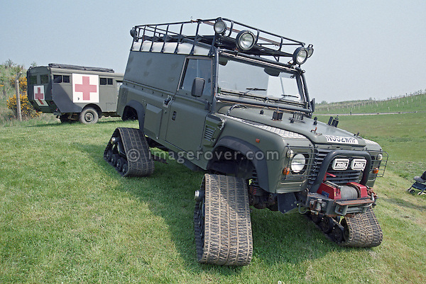 Unusual tracked Land Rover Defender 110 Hardtop as a low ground pressure vehicle (Reg. N552WHP), Gaydon, UK. --- No releases available. Automotive trademarks are the property of the trademark holder, authorization may be needed for some uses.