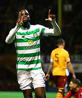 5th February 2020; Fir Park, Motherwell, North Lanarkshire, Scotland; Scottish Premiership Football, Motherwell versus Celtic; Odsonne Edouard of Celtic celebrates after he makes it 1-0 to Celtic in the 8th minute