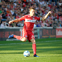 Chicago Fire forward Brian McBride (20) makes a move.  The Chicago Fire tied DC United 0-0 at Toyota Park in Bridgeview, IL on Oct. 16, 2010.