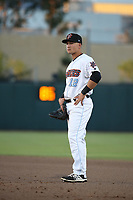 Matt Thaiss (12) of the Inland Empire 66ers in the field at first base during a game against the Lake Elsinore Storm at San Manuel Stadium on April 29, 2017 in San Bernardino, California. Inland Empire defeated Lake Elsinore, 3-1. (Larry Goren/Four Seam Images)