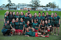 The Wairarapa team poses for a group photo after the Manawatu Secondary Schoolgirls Rugby match between Feilding High School and Wairarapa College at Coronation Park in Palmerston North, New Zealand on Wednesday, 2 August 2017. Photo: Dave Lintott / lintottphoto.co.nz