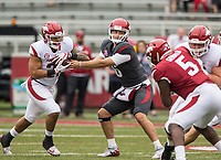 Hawgs Illustrated/BEN GOFF <br /> Ben Hicks, Arkansas quarterback, hands off to running back Devwah Whaley in the first quarter Saturday, April 6, 2019, during the Arkansas Red-White game at Reynolds Razorback Stadium.