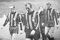 European Cup match Borussia Moenchengladbach versus Inter Milan 7-1; Sandro Mazzola with Mario Corso who passed away at 78 years old,  Nicknamed God's Left Foot he played many years for Inter Milan and the Italian national team