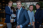 VOGELENZANG -  Sander de Wijn (Ned) met Roel Bovendeert  en Joep de Mol. Spelerslunch KNHB 2019.   Hockey internationals Nederlands dames en heren met sponsoren. COPYRIGHT KOEN SUYK