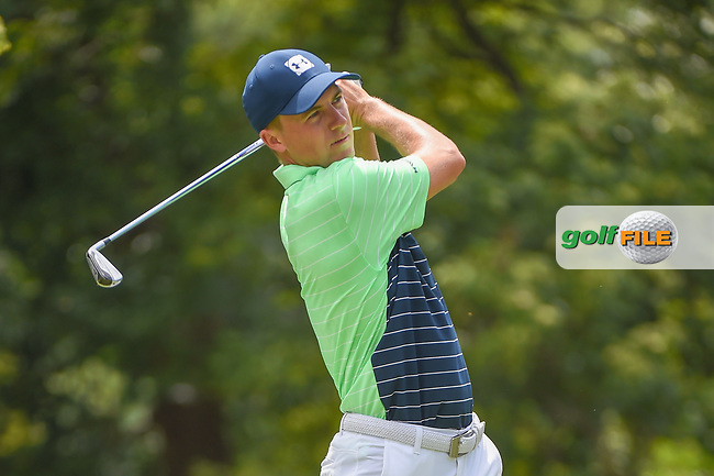 Jordan Spieth (USA) watches his tee shot on 2 during 1st round of the 100th PGA Championship at Bellerive Country Club, St. Louis, Missouri. 8/9/2018.<br /> Picture: Golffile   Ken Murray<br /> <br /> All photo usage must carry mandatory copyright credit (© Golffile   Ken Murray)
