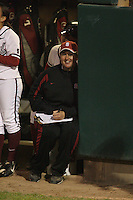 15 February 2008: Stanford Cardinal assistant coach Trisha Ford during Stanford's 11-0 win against the Wichita State Shockers in the Stanford Invitational I at the Boyd and Jill Smith Family Stadium in Stanford, CA.