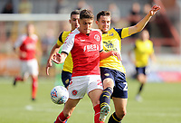 Fleetwood Town's Harrison Biggins vies for possession with Oxford United's Jamie Hanson<br /> <br /> Photographer Rich Linley/CameraSport<br /> <br /> The EFL Sky Bet League One - Fleetwood Town v Oxford United - Saturday 7th September 2019 - Highbury Stadium - Fleetwood<br /> <br /> World Copyright © 2019 CameraSport. All rights reserved. 43 Linden Ave. Countesthorpe. Leicester. England. LE8 5PG - Tel: +44 (0) 116 277 4147 - admin@camerasport.com - www.camerasport.com