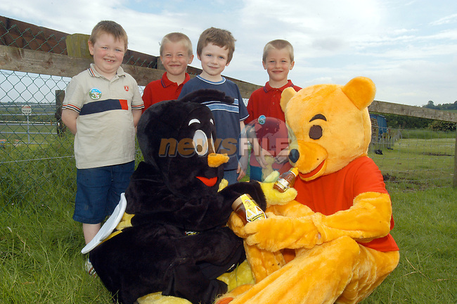 Declan Ryan, Gavin Smith, Gareth Montague and Aiden Smith laytown pictured with the Boyne Valley Honey Bee and Honey Bear at Irelands largest Teddy Bear Picnic with The Boyne Valley Honey Company and Newgrange Farm..Photo Fran Caffrey/Newsfile.ie..This picture has been sent to you by:.Newsfile Ltd,.3 The View,.Millmount Abbey,.Drogheda,.Co Meath..Ireland..Tel: +353-41-9871240.Fax: +353-41-9871260.GSM: +353-86-2500958.ISDN: +353-41-9871010.IP: 193.120.102.198.www.newsfile.ie..email: pictures@newsfile.ie..This picture has been sent by Fran Caffrey.francaffrey@newsfile.ie