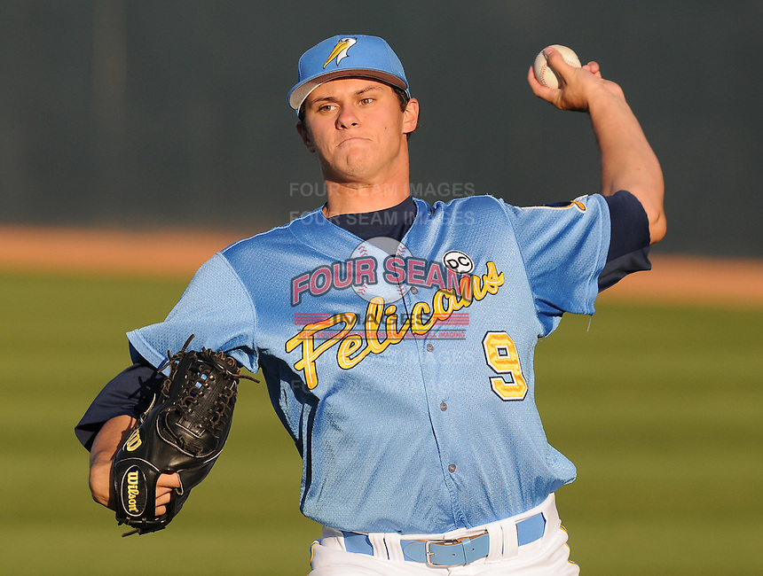 April 10, 2009: LHP Jeff Locke (9) of the Myrtle Beach Pelicans, Class A affiliate of the Atlanta Braves, in a game against the Wilmington Blue Rocks at BB&T Coastal Field in Myrtle Beach, S.C. Photo by:  Tom Priddy/Four Seam Images