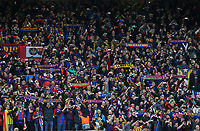 Barcelona fans hold scarves aloft as they show their support ahead of kick-off<br /> <br /> Photographer Rich Linley/CameraSport<br /> <br /> UEFA Champions League Semi-Final 2nd Leg - Liverpool v Barcelona - Tuesday May 7th 2019 - Anfield - Liverpool<br />  <br /> World Copyright &copy; 2018 CameraSport. All rights reserved. 43 Linden Ave. Countesthorpe. Leicester. England. LE8 5PG - Tel: +44 (0) 116 277 4147 - admin@camerasport.com - www.camerasport.com