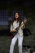 HAIM - Danielle Haim - performing live on the Other Stage at the 2014 Glastonbury Festival at Pilton Farm Somerset UK - 27 Jun 2014.  Photo credit: George Chin/IconicPix