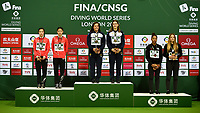 Women's 3m Synchro Springboard medallists Jennifer Abel, Mellissa Citrini Beaulieu (bronze), Shan Lin, Yani Chang (silver), Maddison Keeney and Anabelle Smith (gold)<br /> <br /> Photographer Hannah Fountain/CameraSport<br /> <br /> FINA/CNSG Diving World Series 2019 - Day 1 - Friday 17th May 2019 - London Aquatics Centre - Queen Elizabeth Olympic Park - London<br /> <br /> World Copyright © 2019 CameraSport. All rights reserved. 43 Linden Ave. Countesthorpe. Leicester. England. LE8 5PG - Tel: +44 (0) 116 277 4147 - admin@camerasport.com - www.camerasport.com
